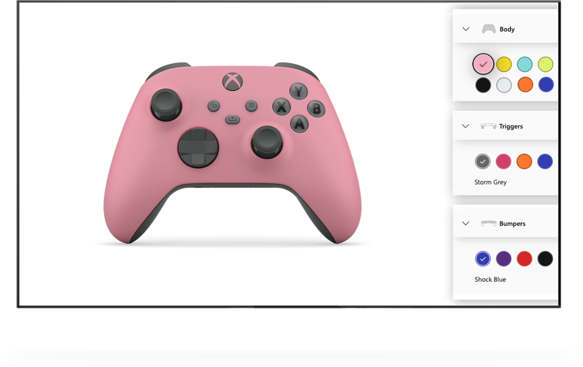 Manette Xbox rose au sein du configurateur Xbox Design Lab