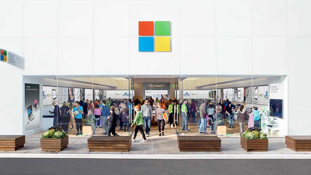 Front of a Microsoft Store Building