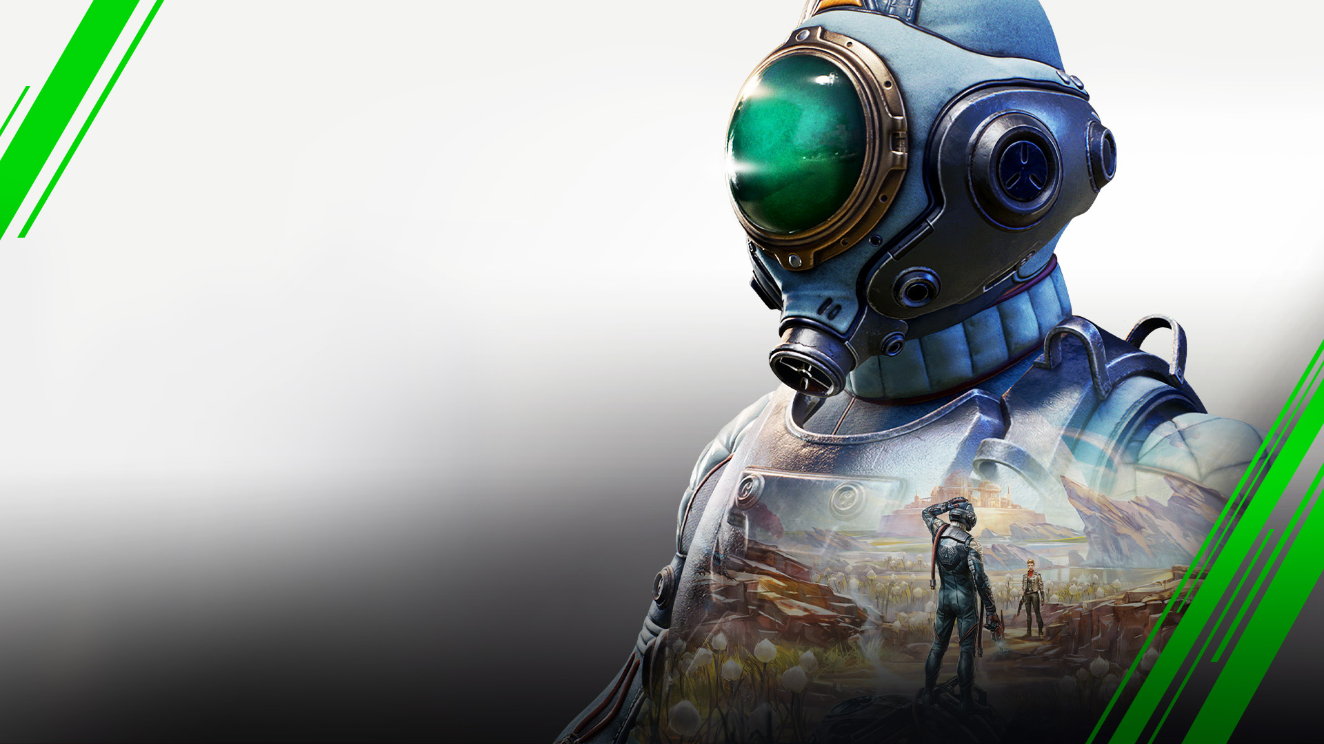 Game art from The Outer Worlds showing a character in a space suit