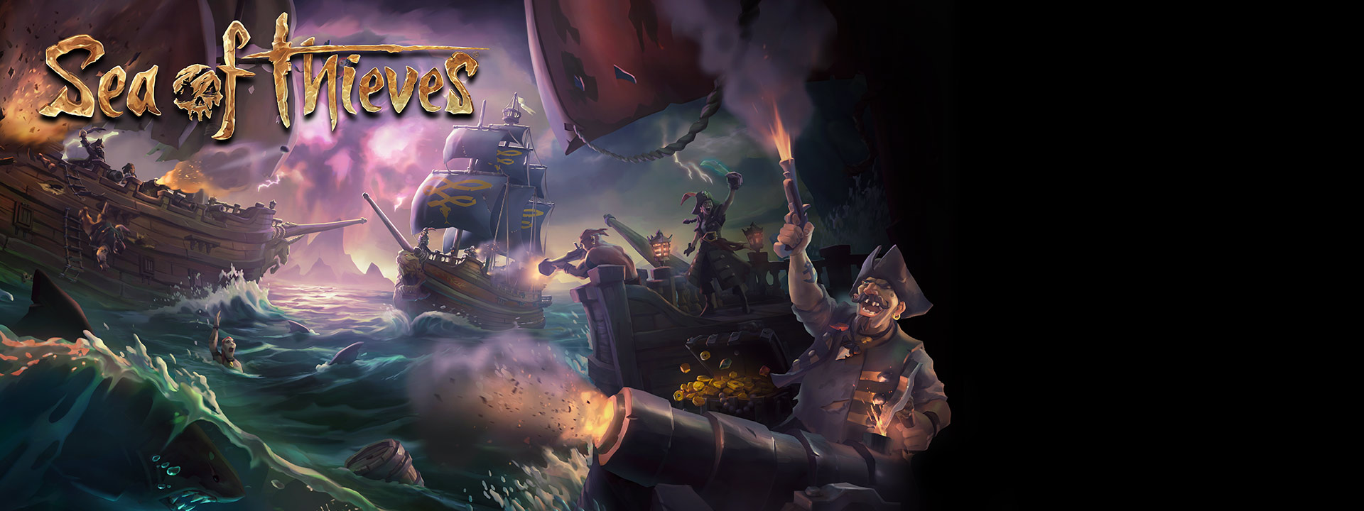 Sea of Thieves for Windows 10 - pirate ships doing battle on a stormy sea