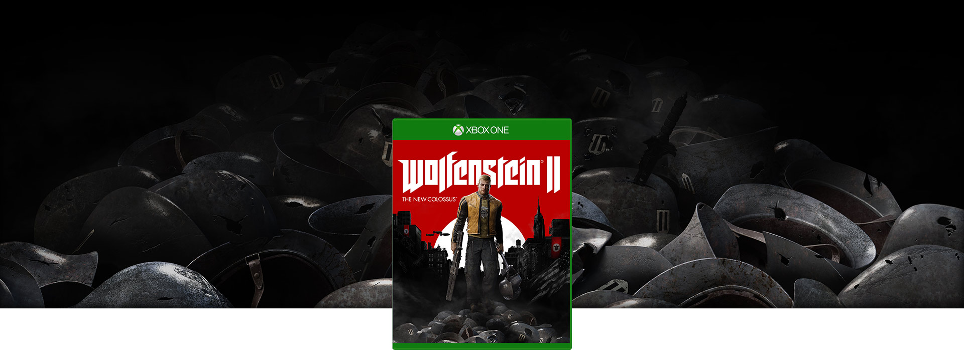 Wolfenstein II: The New Colossus boxshot – background shot of a pile of German army helmets