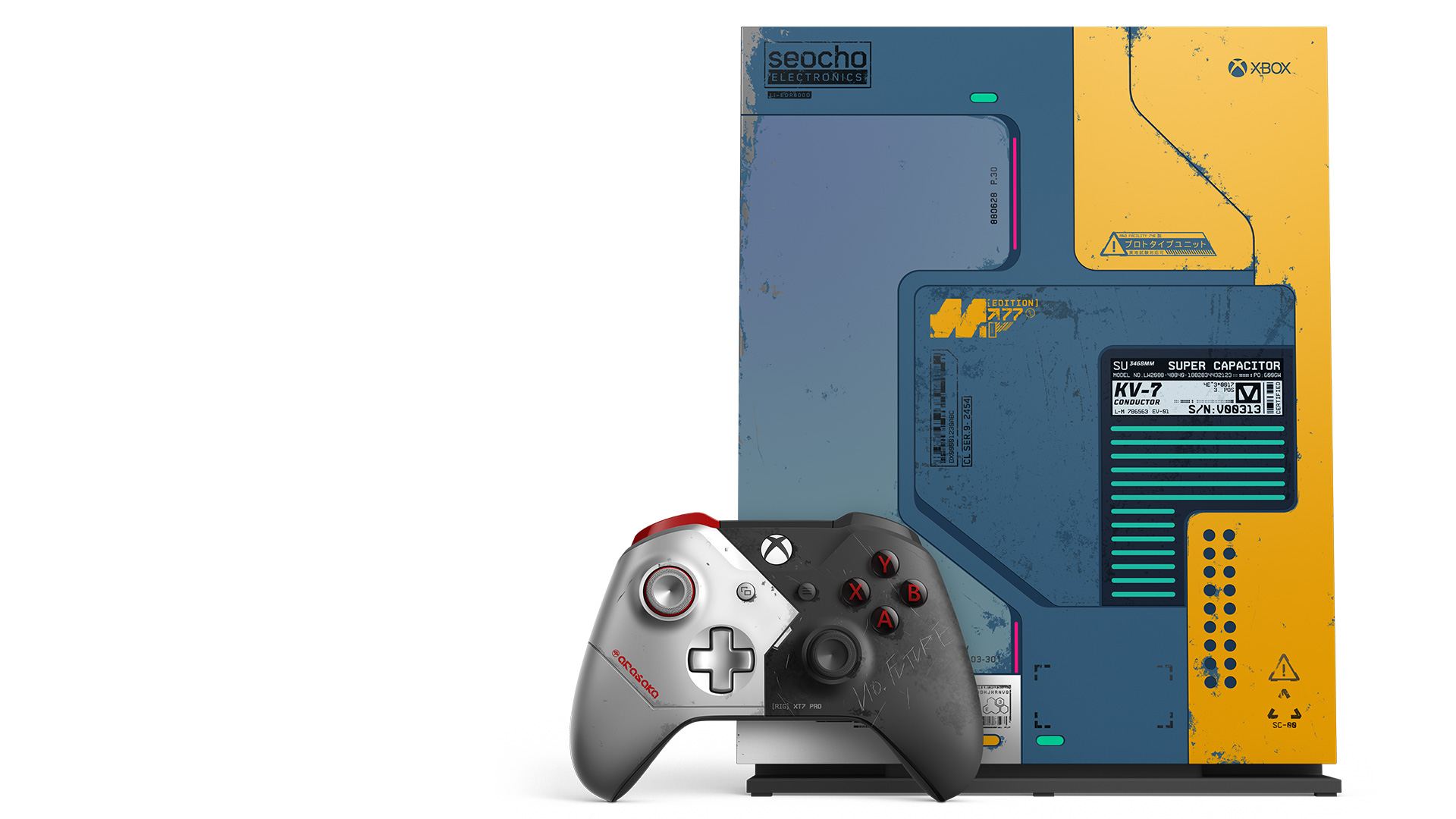 Xbox One X Cyberpunk 2077 Limited Edition console with an Xbox Cyberpunk 2077 wireless controller
