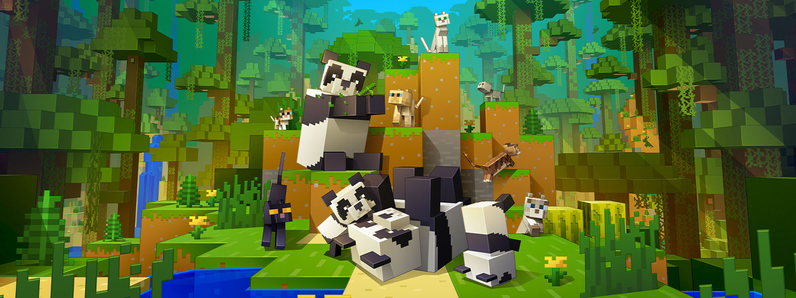Image of Mincraft cats and pandas playing together