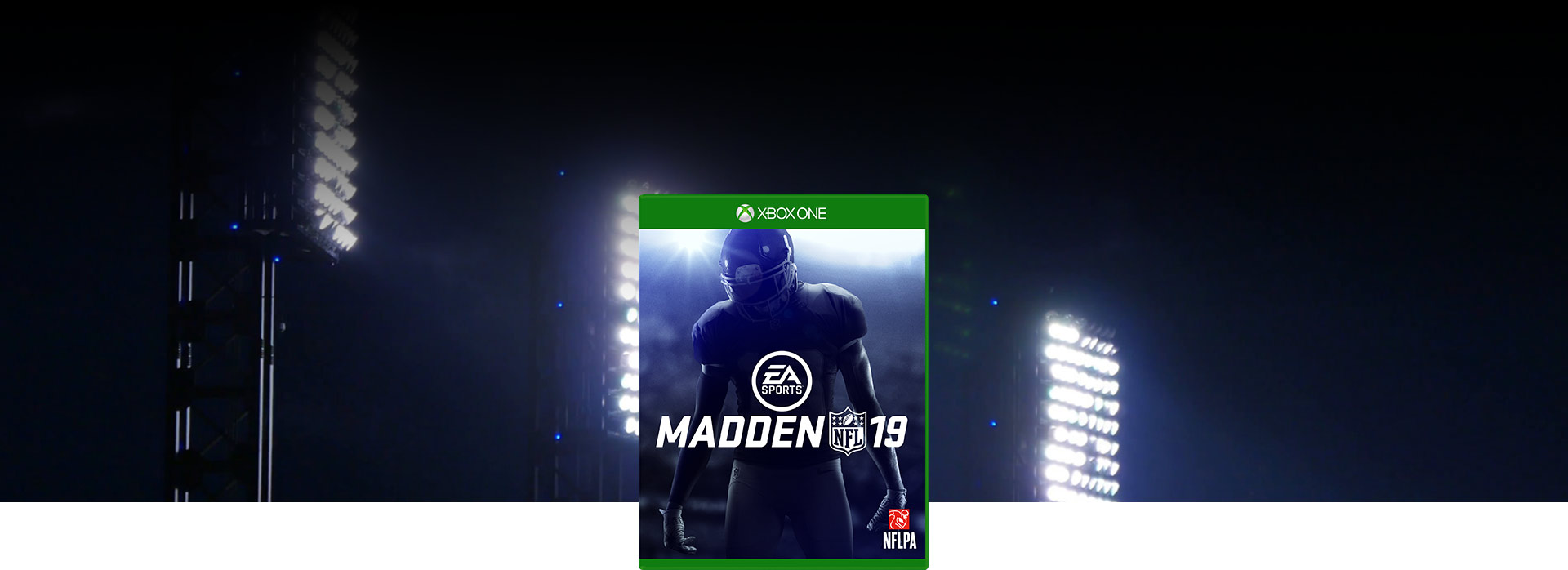 Madden NFL 19 box shot, Background of stadium lights