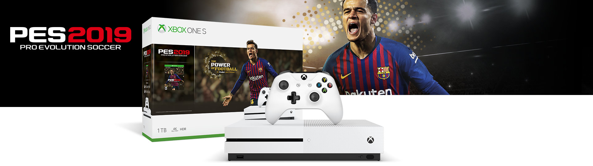 Front view of the Xbox One S PES 2019 1 terabyte bundle