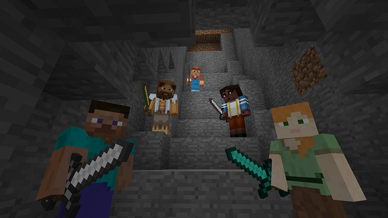 Minecraft players on staircase