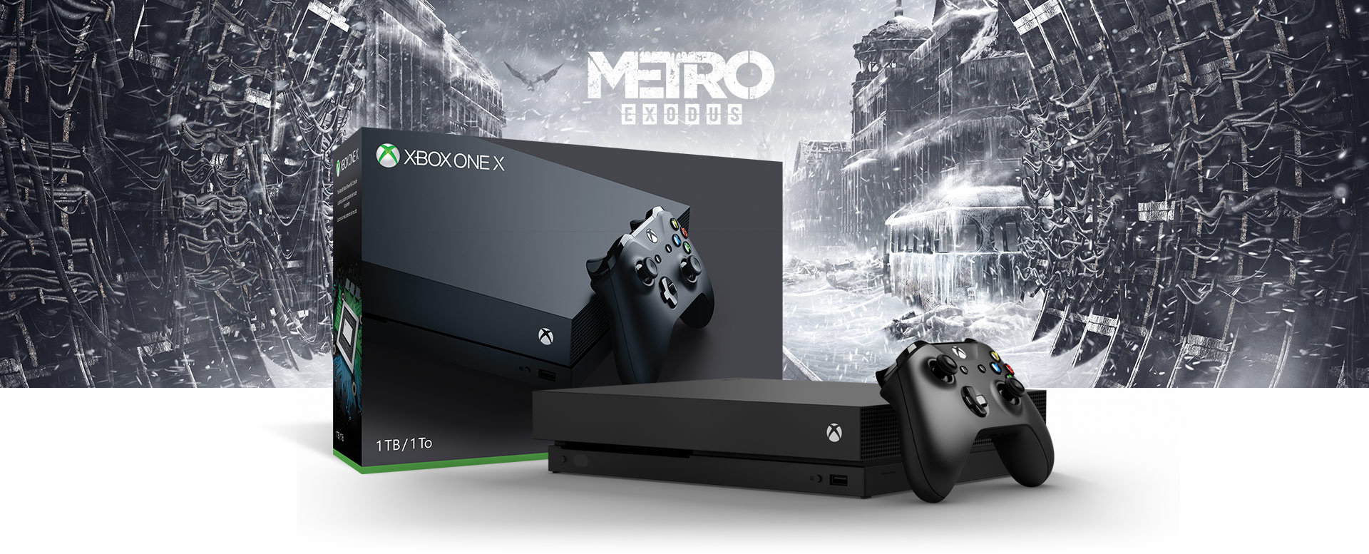 Xbox One X console in front of a hardware bundle box featuring Metro Exodus art
