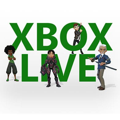 Xbox Live logo with 4 avatars around it