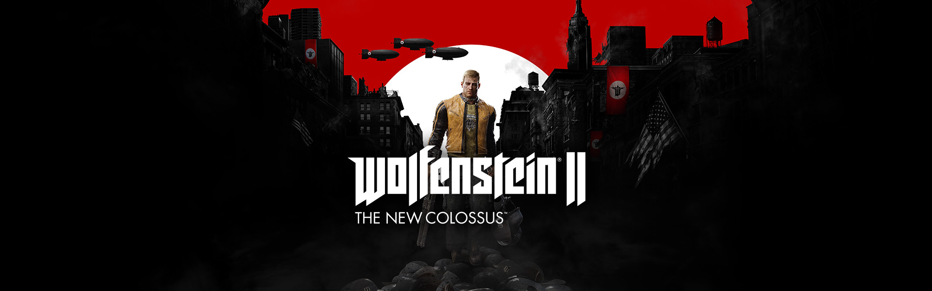 BJ Blazkowicz holding a shotgun with a war damaged American town in the background