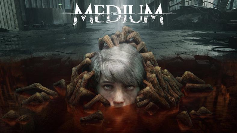 The Medium. Ett huvud som är halvt nedsänkt i golvet i en kuslig byggnad.