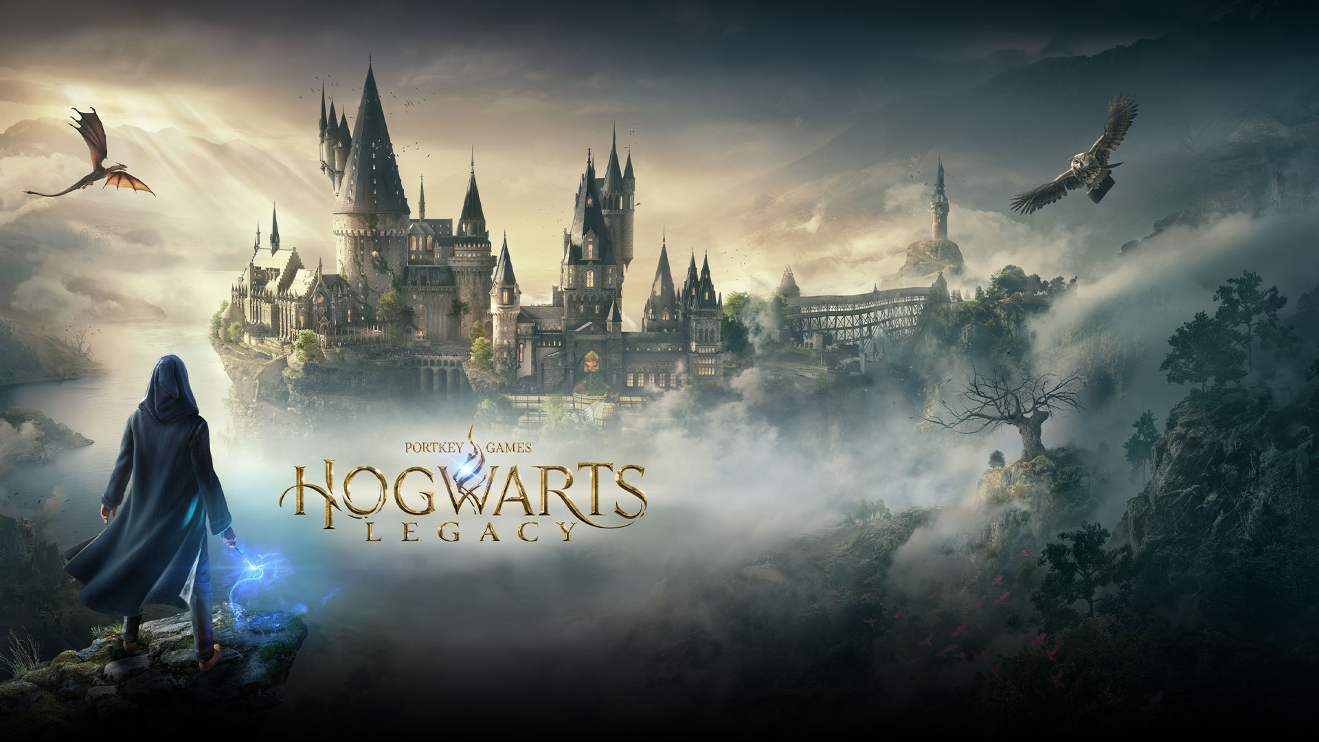 Portkey Games, Hogwarts Legacy, a magical character looking at Hogwarts with an owl and a dragon flying