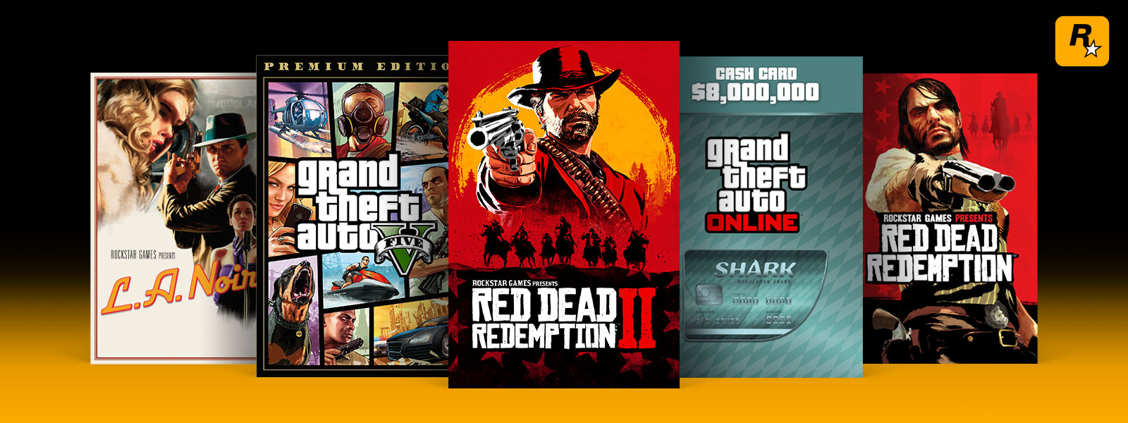 Collage of Rockstar games on sale, including Red Dead Redemption 2, Grand Theft Auto 5, and L.A. Noir