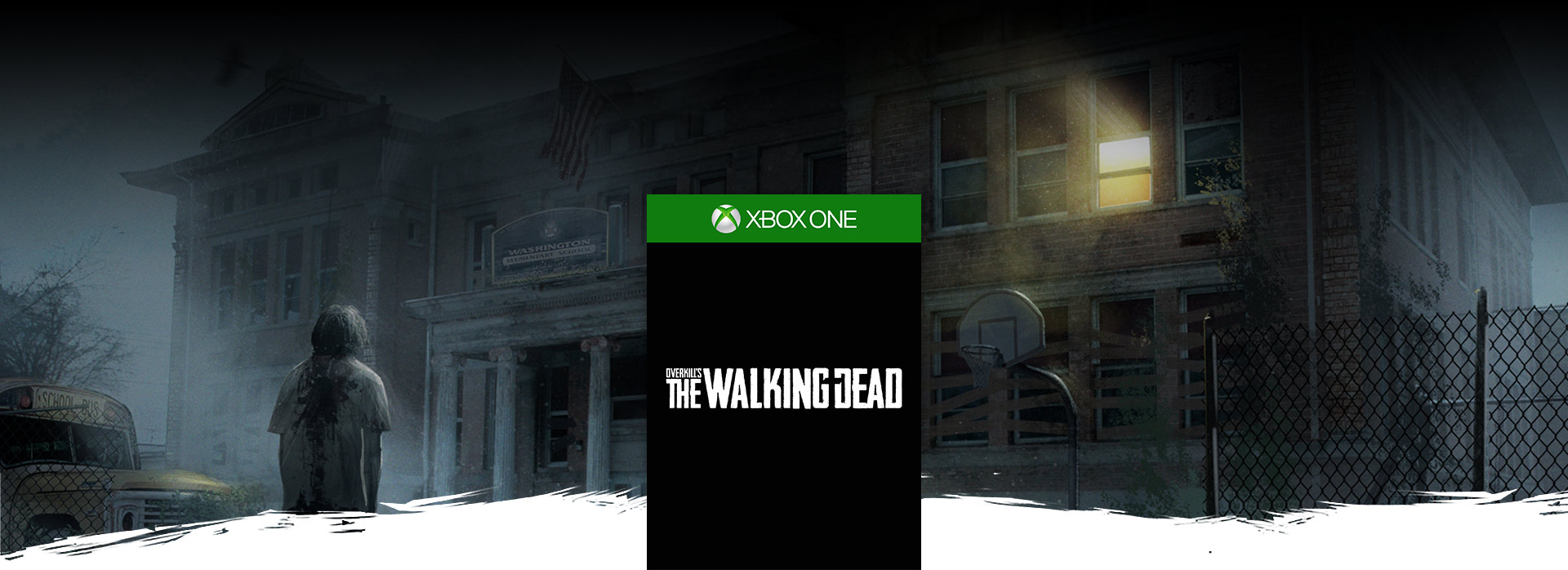 Overkill's the walking dead boxshot, Front view of an elementary school with a walker standing in front