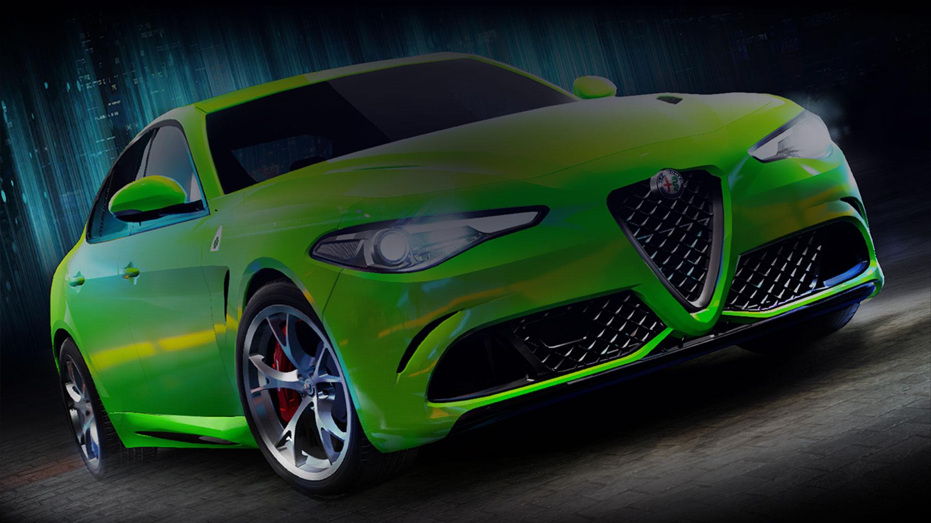 Зеленый спортивный автомобиль из Forza Street