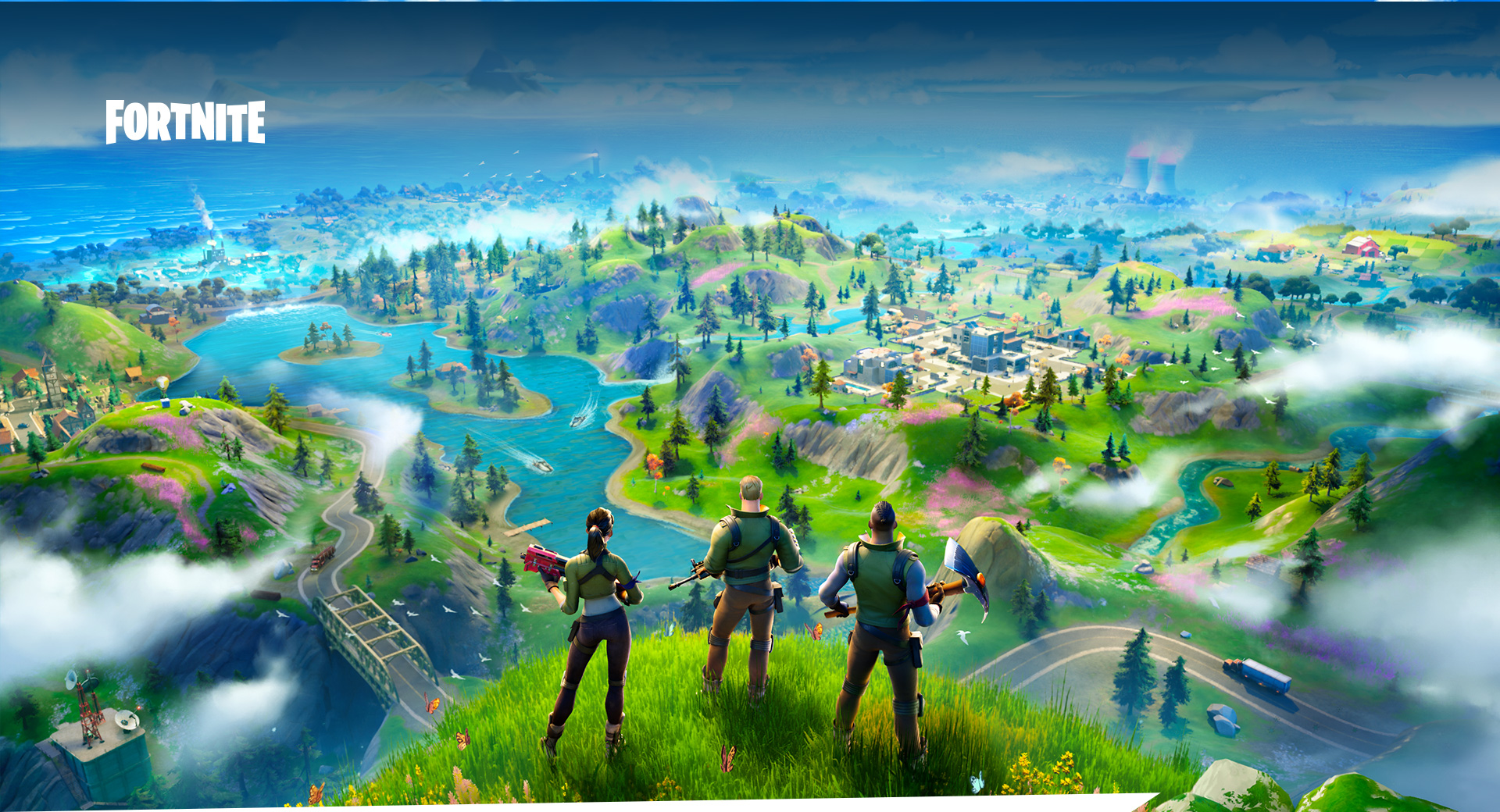 Fortnite, Three characters stand on top of a hill overlooking a lush map, bright ocean water surrounds the island