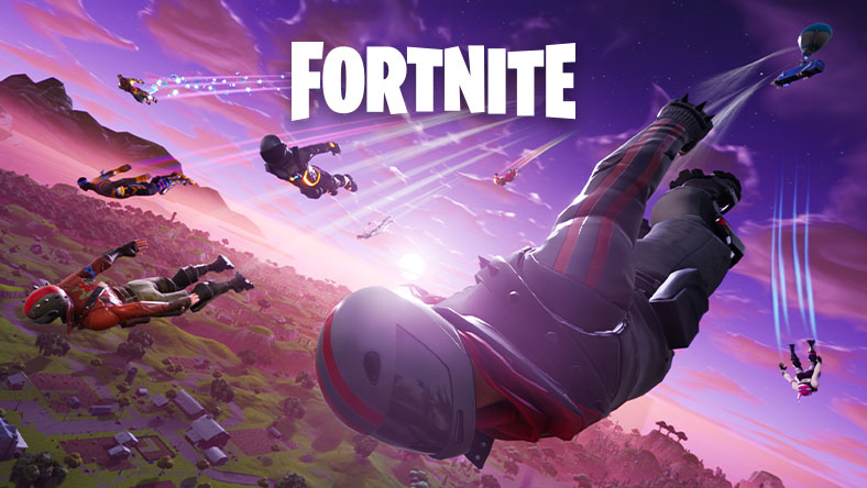 Mehrere Spieler, die aus einem Kampfbus im Himmel springen