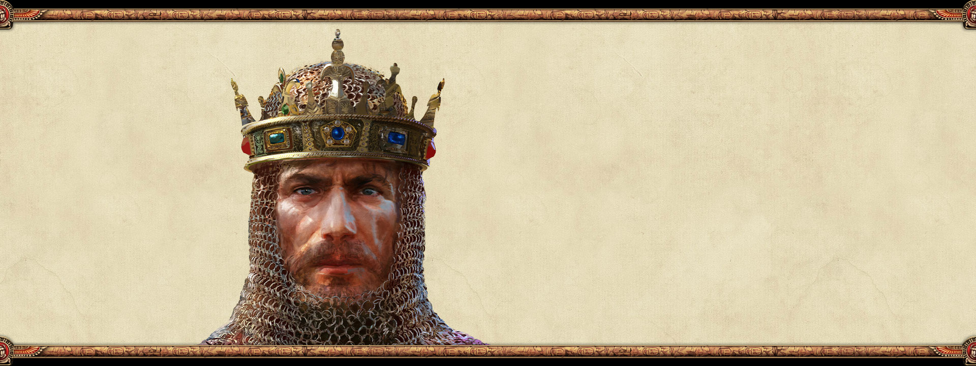 The ruler of an empire wearing chain mail and a crown