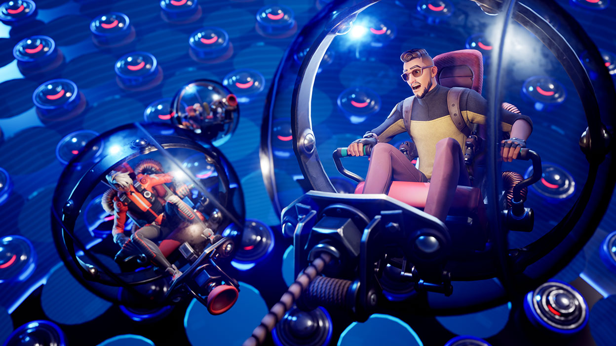 Two characters sit inside two robotic hamster balls.