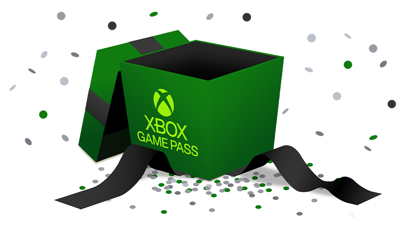 A green box labeled Xbox Game Pass surrounded by confetti