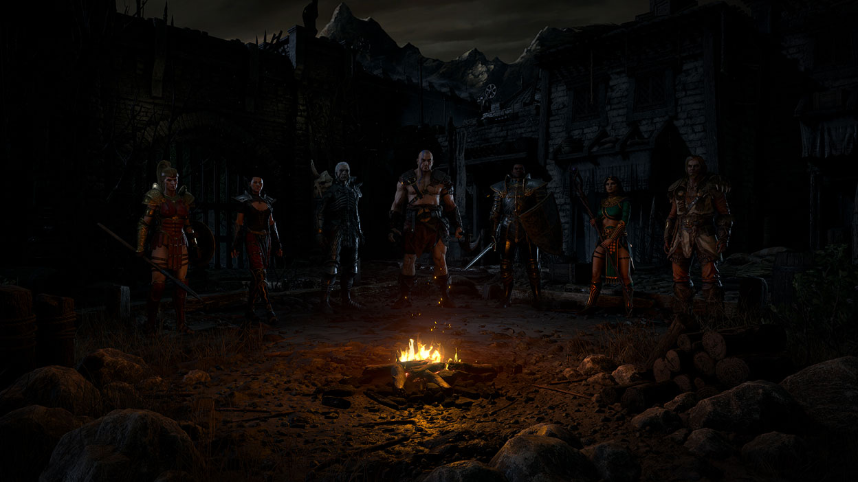 All the different character choices pose by a campfire in a ruin.