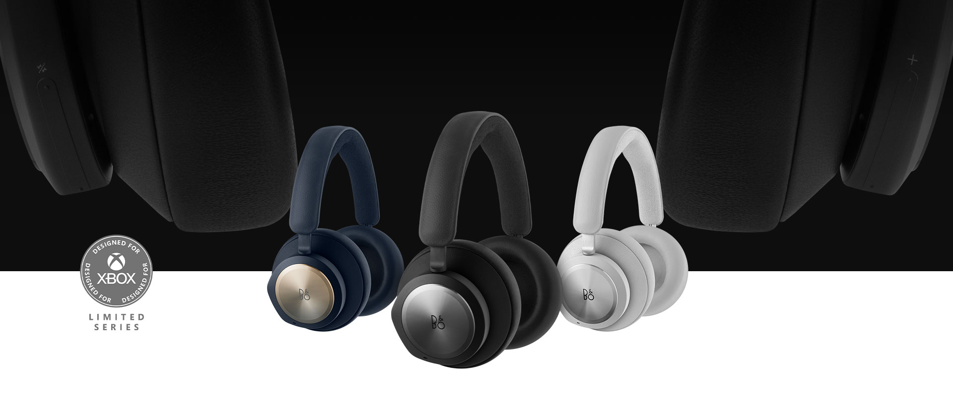Band and Olufsen black headset in front with the grey and navy headset beside it