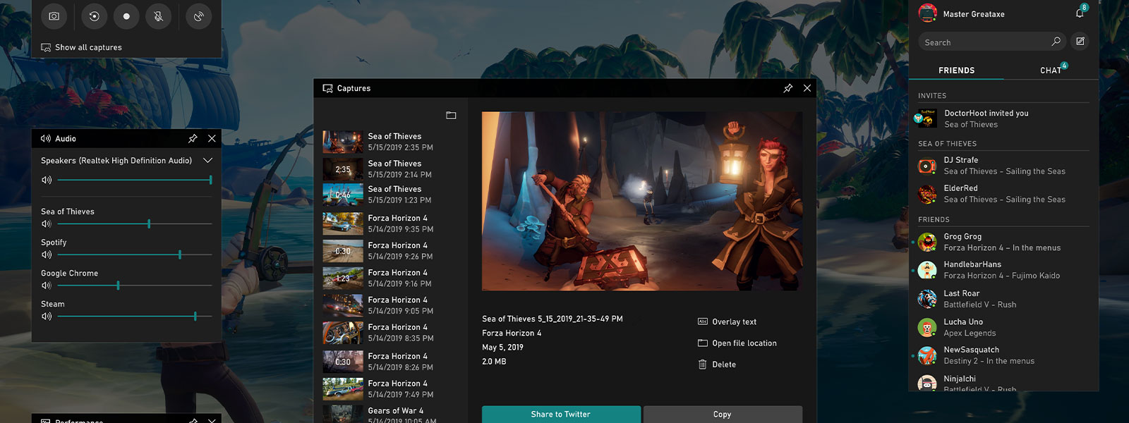 Screenshot of the broadcast and capture screen on the Xbox dash