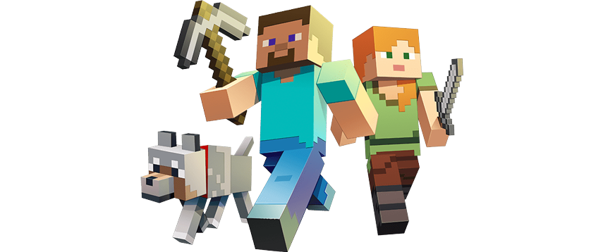 front view of 2 minecraft characters