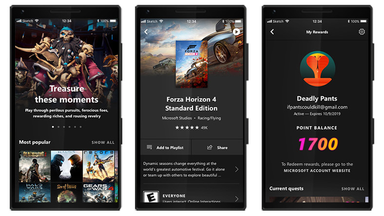 Three mobile phones showing examples of the Xbox Game Pass Mobile App interface