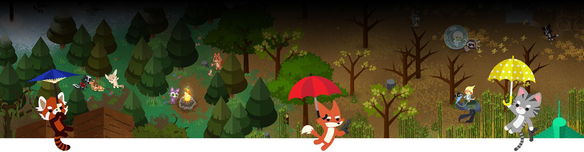 Hayvanlar ormandaki savaşa doğru süzülmek için şemsiyeleri kullanıyor.