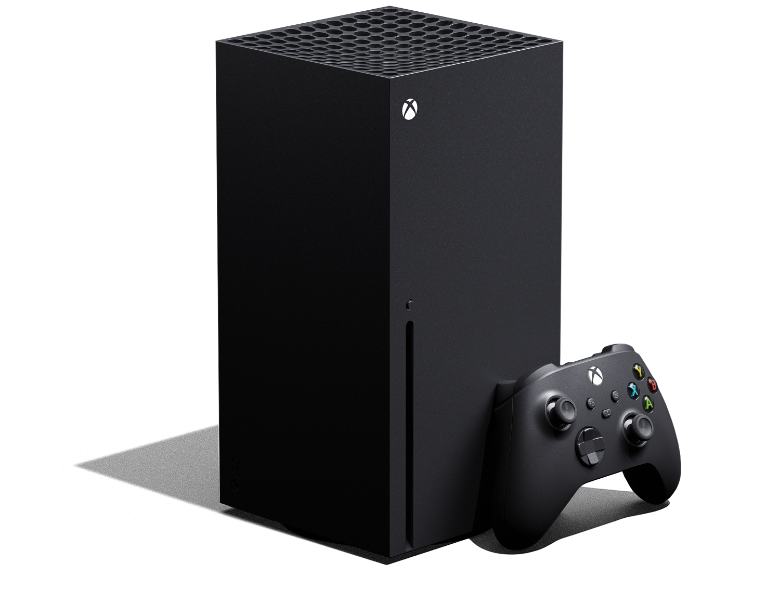 Xbox Series X von links mit einem Xbox Wireless Controller