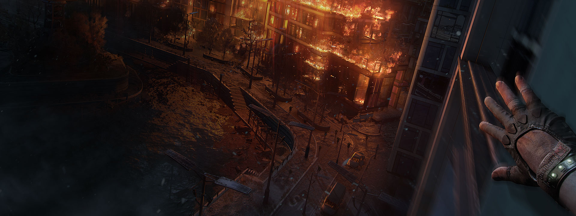 Character view of a burning building