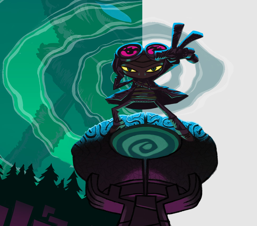 Psychonauts 2, personagem em pé com sua mão estendida em uma floresta escura