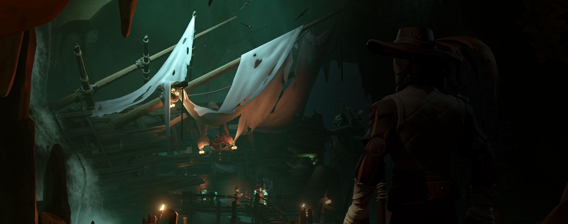 Sea of Thieves 中的角色看著遇難的船隻