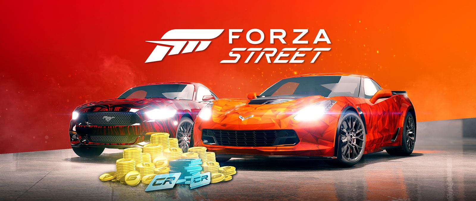 Logo de Forza Street, Ford Mustang2015 et Corvette Z06 C72015 avec pièces d'or et crédits