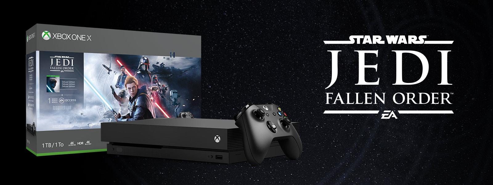 Πακέτο Xbox One X Star Wars Jedi: Fallen Order μπροστά από βουνά και δρόμο με φύλλα
