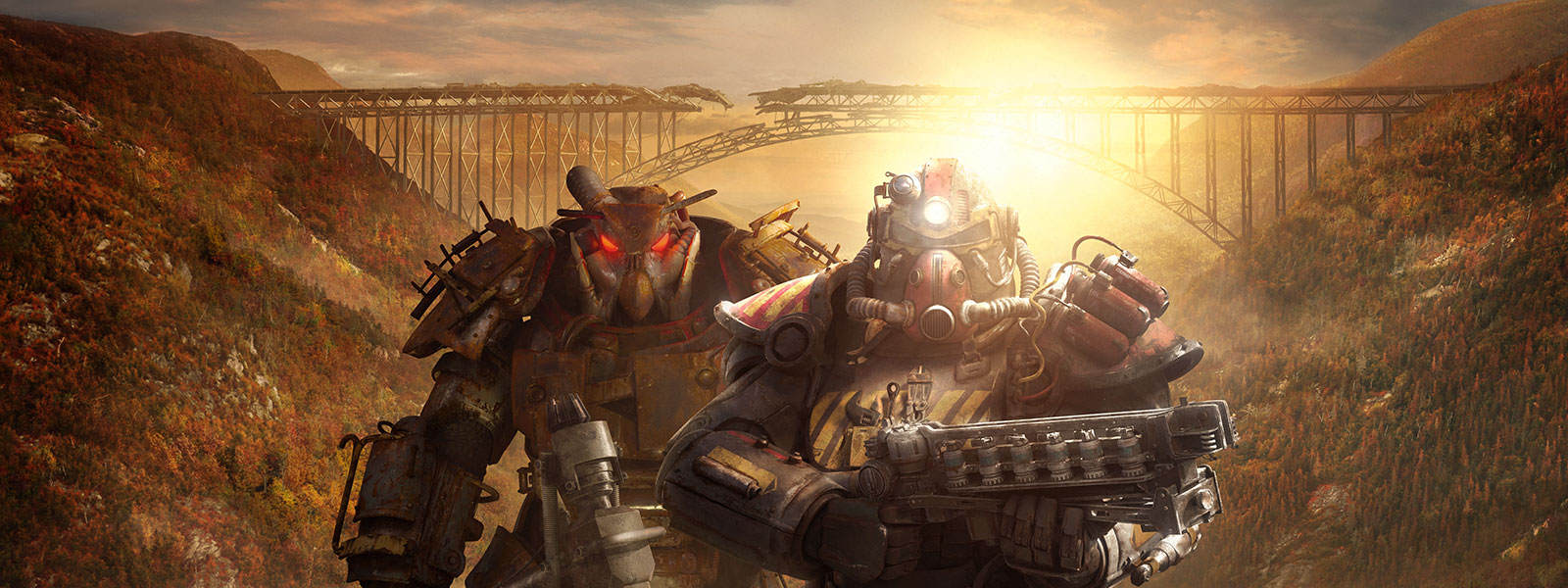 People in two sets of different Power Armour stand in front of dilapidated train tracks connecting two hills