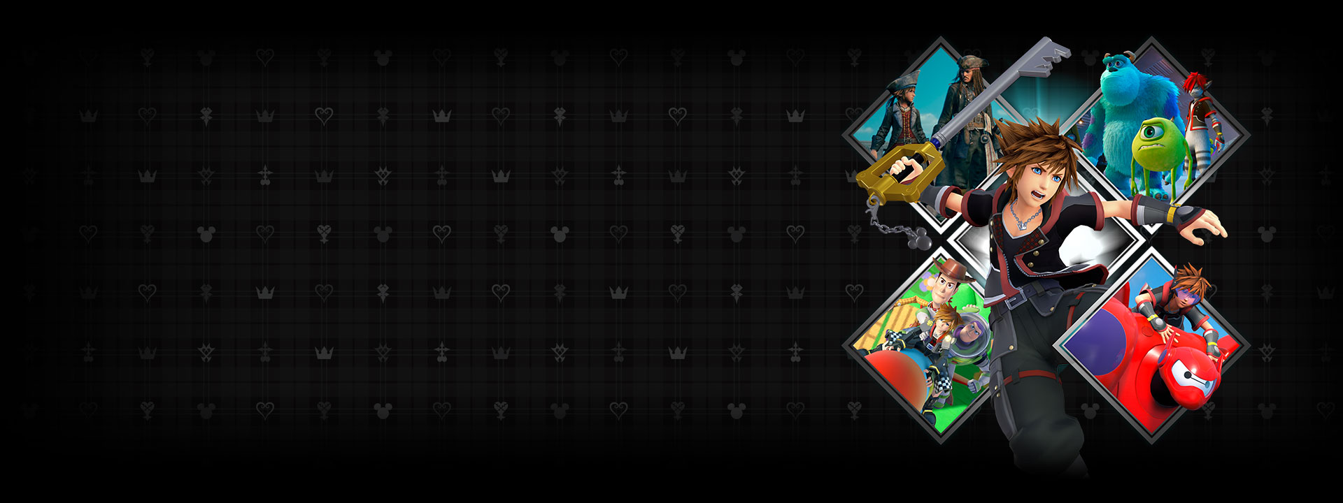 Sora houdt een keyblade vast in het midden van een X, omringd door game art van verschillende Disney- en Pixar-werelden