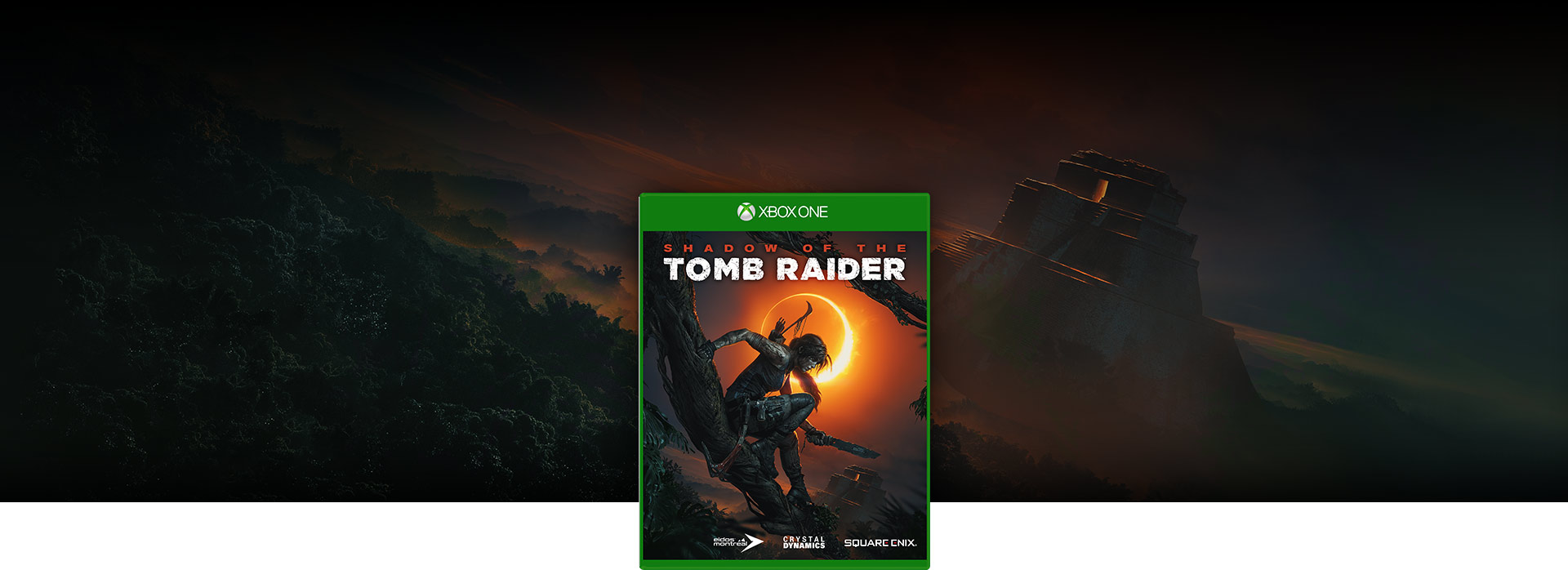 Image de la boîte Shadow of the Tomb Raider, temple dans la jungle en arrière-plan