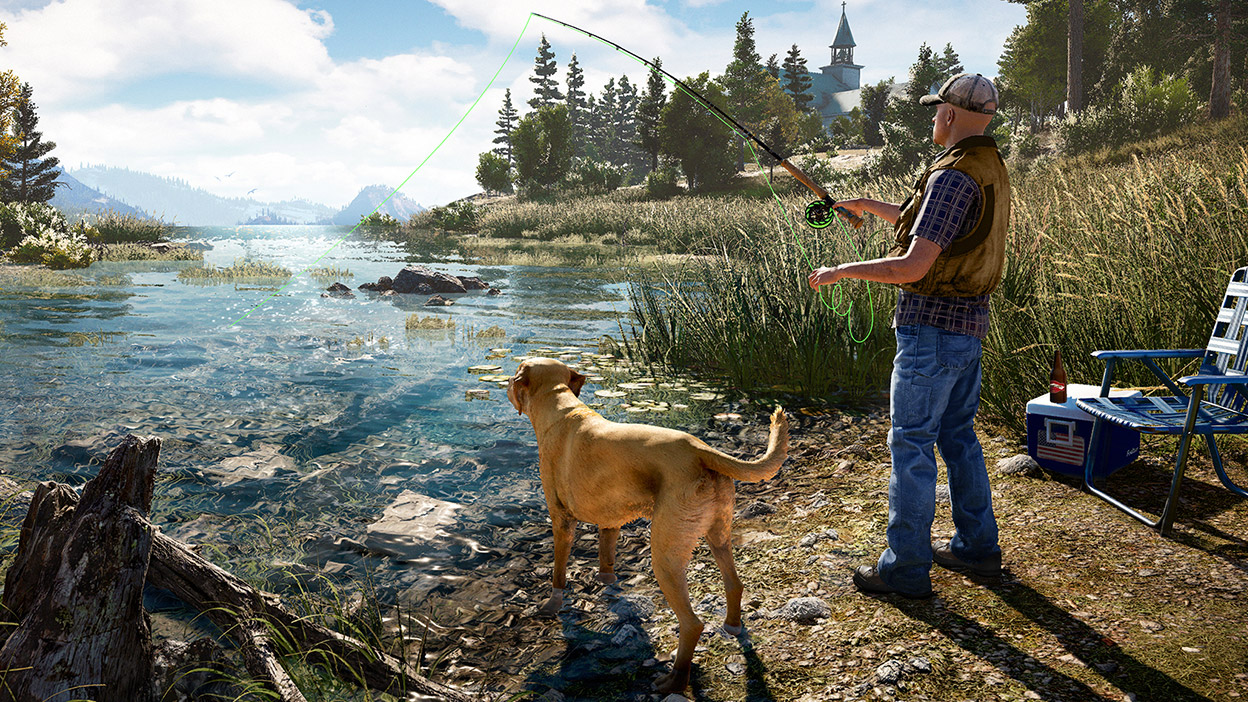 A man fishing with his dog on a river