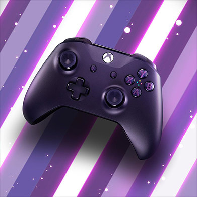 Xbox Fortnite Controller Royale over a striped purple and white background