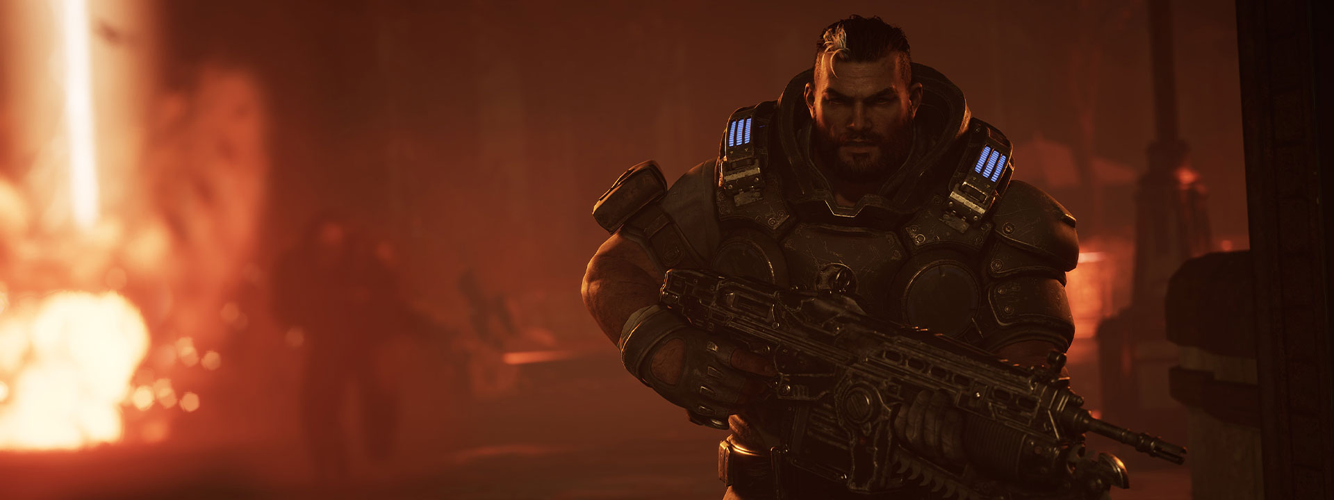 Gabe Diaz from Gears Tactics in full armour going away from an explosion