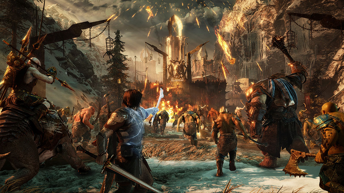 Talion commands his orc army