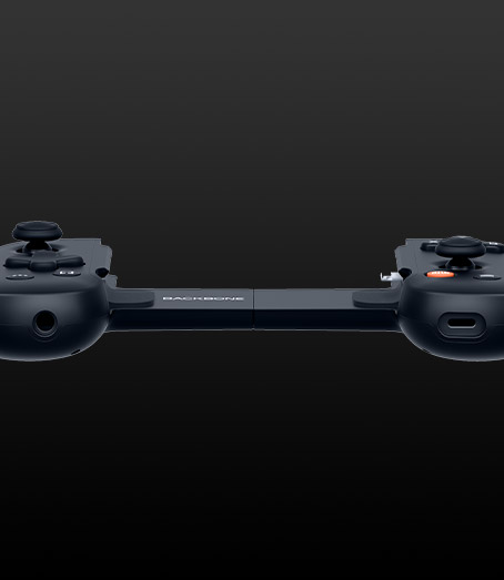 Bottom angle of the backbone One controller showing 3.5mm jack and lightning port