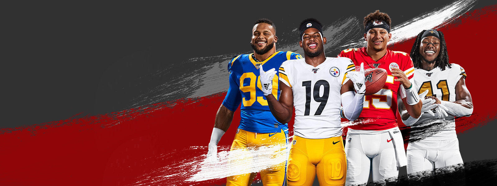 Four NFL players from different teams posing with red, white, gray, and black paint strokes surrounding them