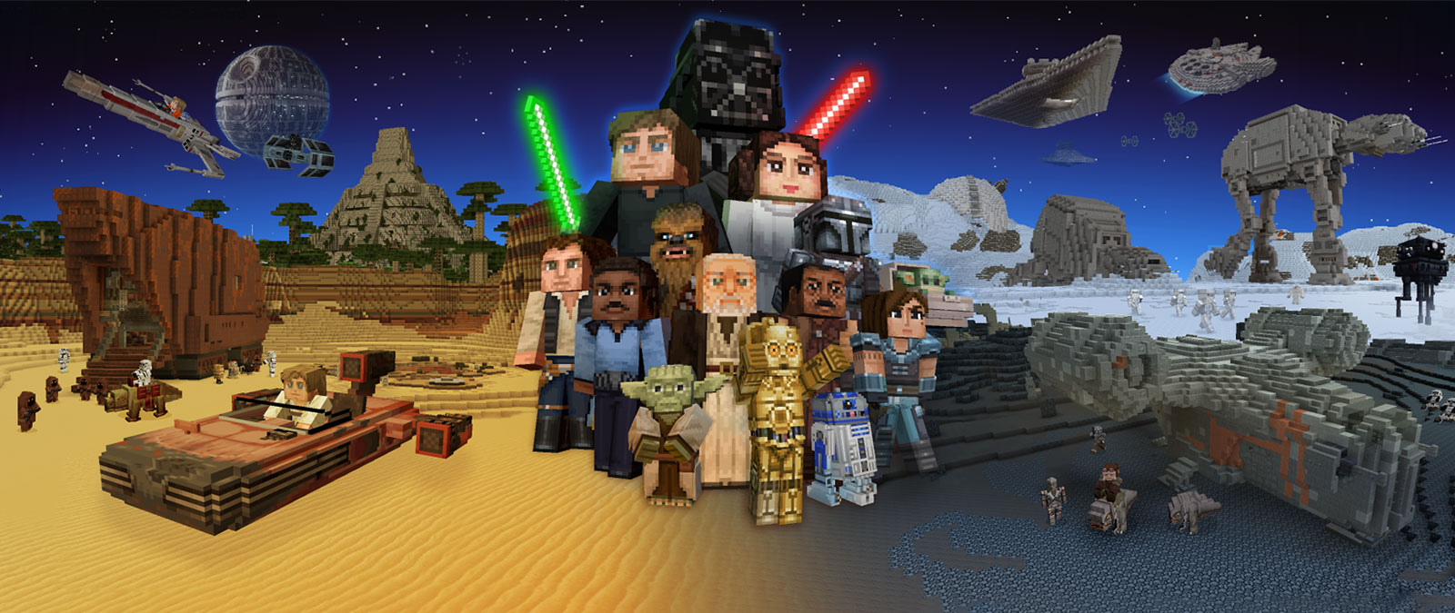 Characters from Star Wars in Minecraft style