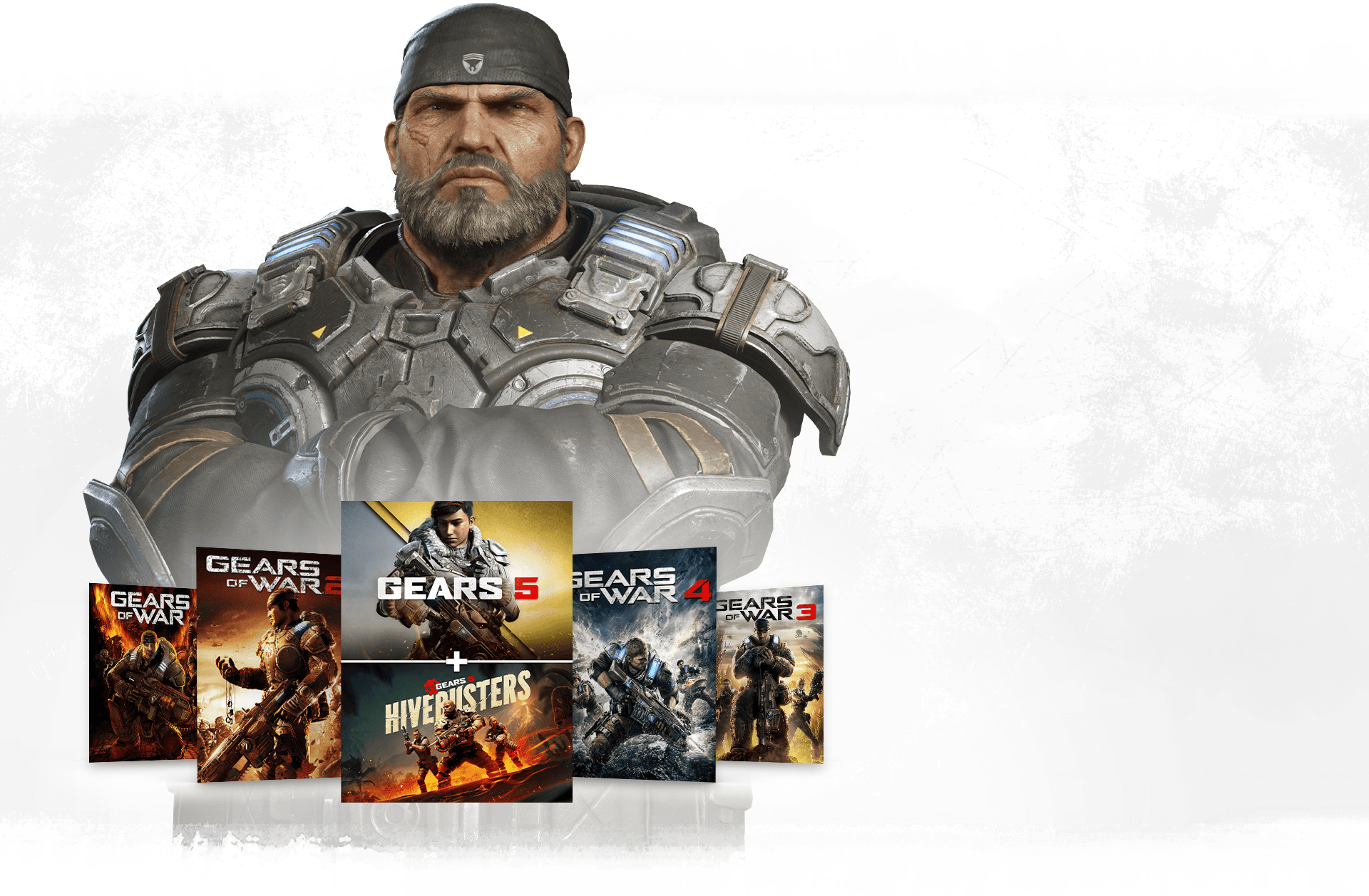 Row of gears boxshots with Marcus Fenix standing behind with arms crossed