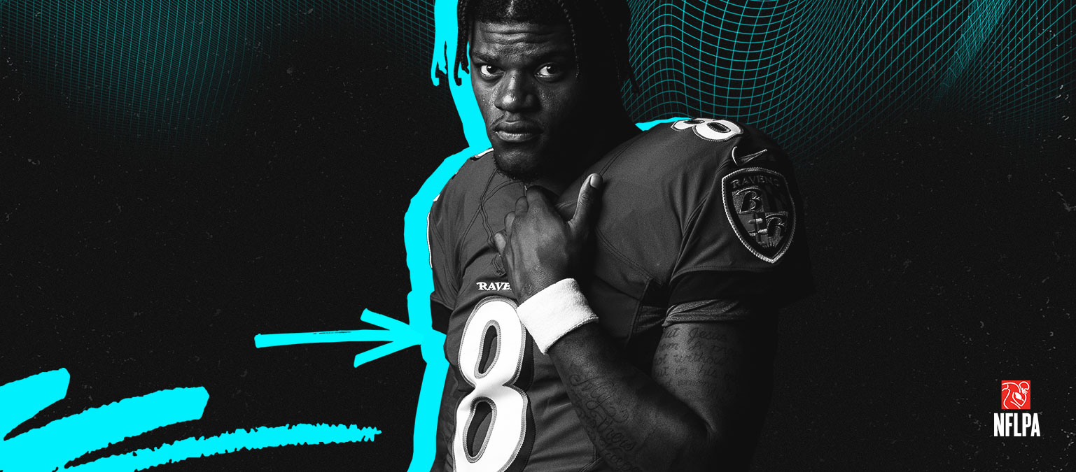 NFLPA logo, Lamar Jackson stands in his Ravens jersey.