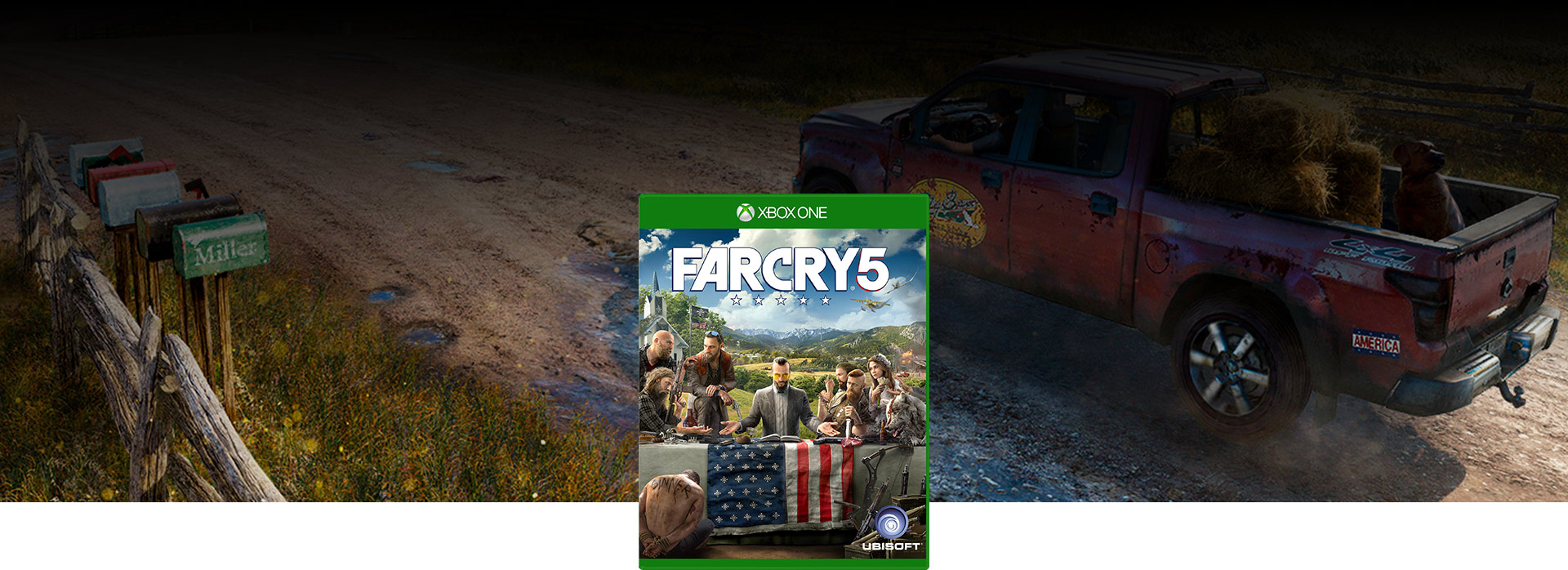 Far Cry 5 boxshot (pick-up truck with dog and hay in flatbed driving down dirt road)