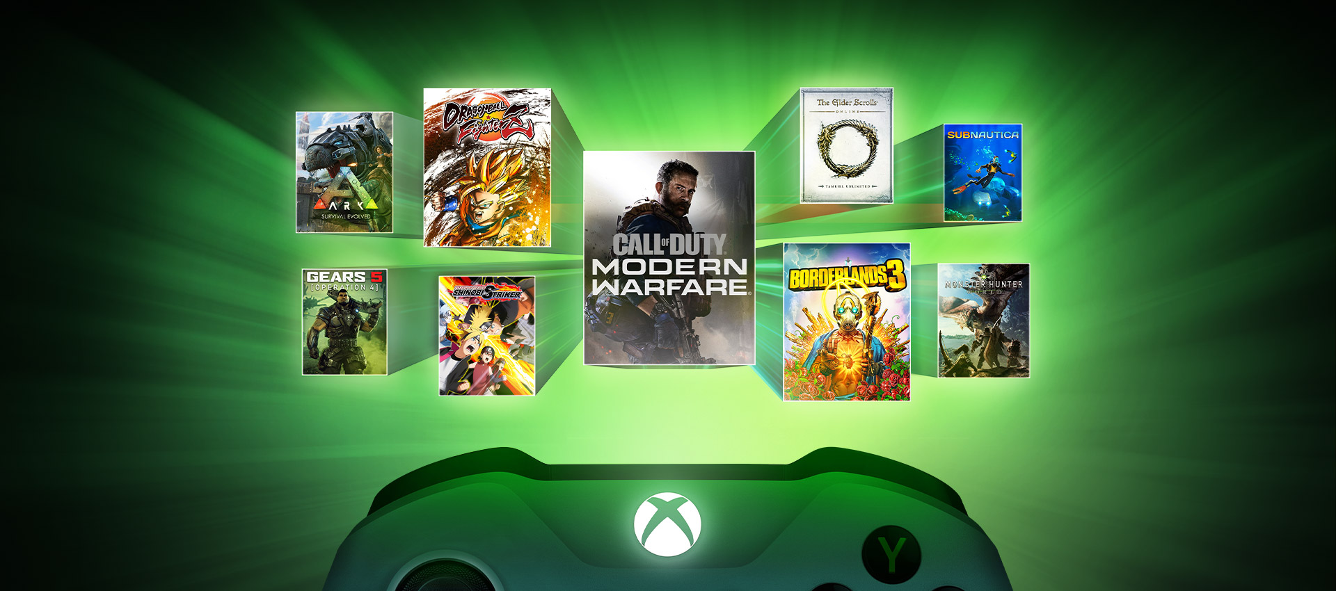 A collection of games on a green background, including Call of Duty: Modern Warfare, Borderlands 3, ARK: Survival Evolved, Gears 5, Monster Hunter World and Elder Scrolls Online: Tamriel Unlimited.