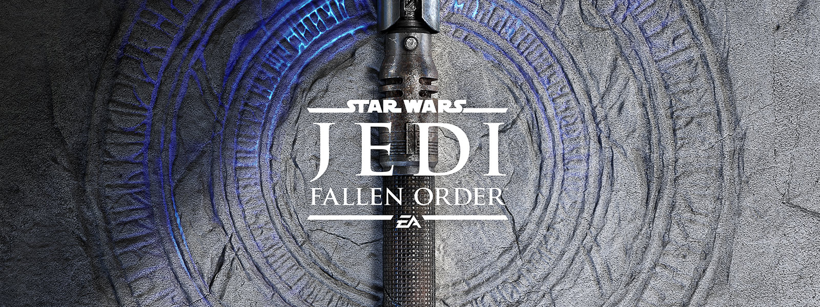 Star Wars Jedi Fallen Order logo, Glowing blue cracks in the ground with a lightsaber on top